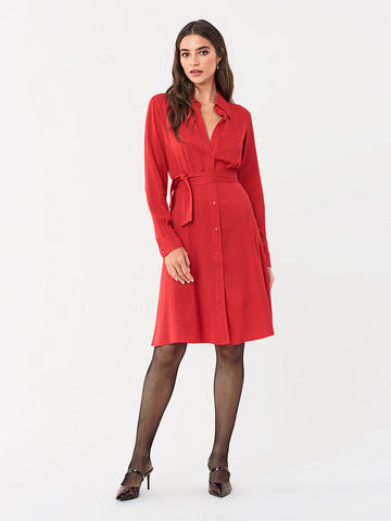 Dory Stretch Georgette Shirt Dress in Poinsettia
