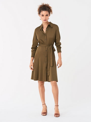 Dory Stretch Georgette Shirt Dress in Terra