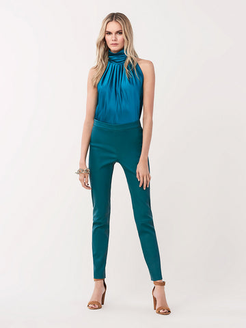 Claudia Stretch Leather Skinny Pants in Evergreen