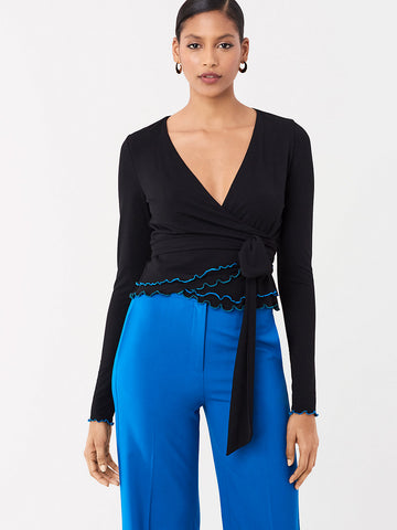 Dani Jersey-Blend Wrap Top in Black