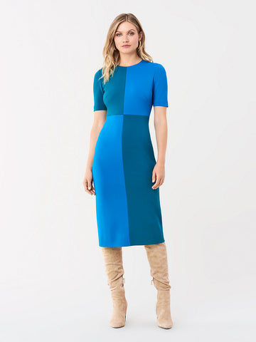 Davis Stretch Ponte Shift Dress in Evergreen/New Coast