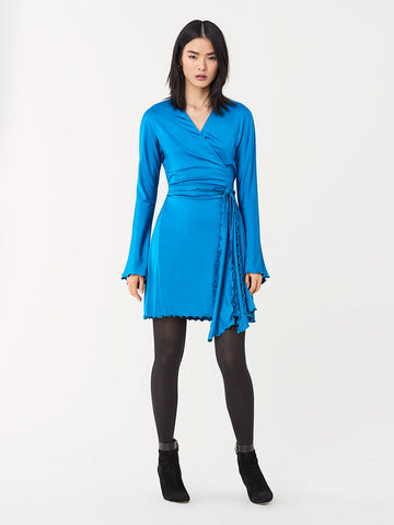 Freesia Slinky Jersey Mini Wrap Dress in New Coast