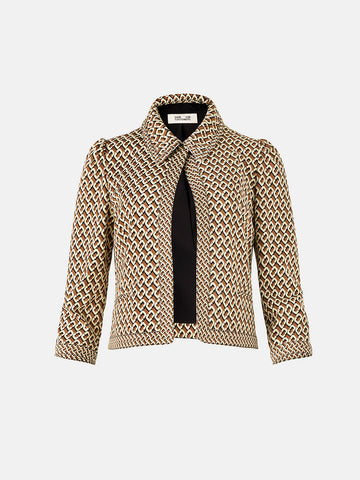 Sansa Jacquard Cropped Jacket in Caffe Multi