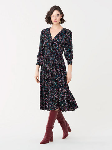Peony Crepe Midi Dress in Confetti Dots Black