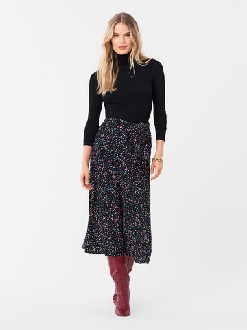 Lesley Crepe Midi Skirt in Confetti Dots Black