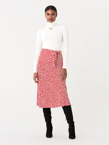 Lesley Crepe Midi Skirt in Hearts Small Poinsettia
