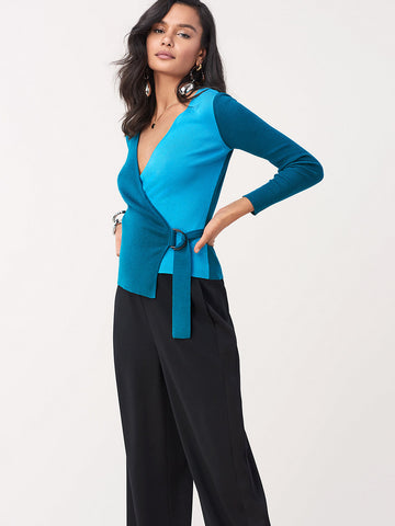 Gardenia Stretch Wool D-Ring Wrap Top in Evergreen/Coastal