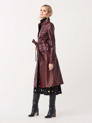 Helga Leather Trench Coat in Oxblood/Evergreen