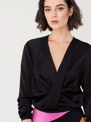 Muriel Satin Draped Blouse in Black