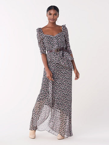 Jasmyne Ruffled Crinkle Chiffon Maxi Dress in Vines Black