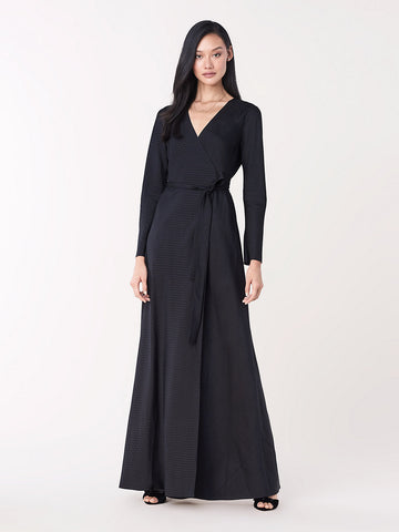 Tilly Silk Jacquard Maxi Wrap Dress in Black