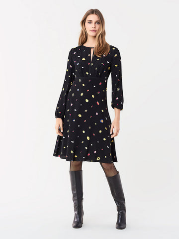 Andrea Crepe Long-sleeve Dress in Polka Dot Agate/Black