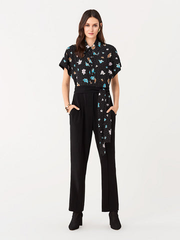 Yvonne Stretch Crepe Jumpsuit in Black/Ice Dot Black