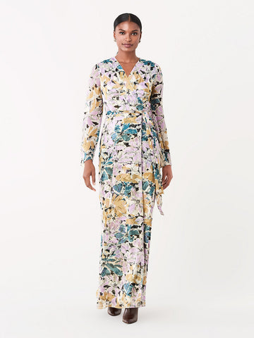 Sharon Crinkle Chiffon Maxi Wrap Dress in Frozen Flower Icicle