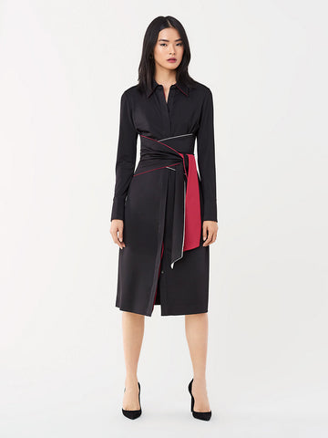 Suzanne Slinky Jersey Belted Shirt Dress in Black