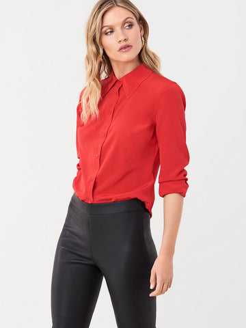 Samson Silk Crepe de Chine Shirt in Poinsettia