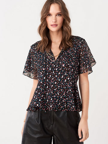 Mildred Silk-Blend Peplum Top in Confetti Dots Black