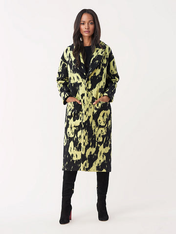 Peg Wool Oversized Coat in Black/Citrine