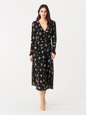 Vanessa Tissue Jersey Midi Dress in Ice Dot Black