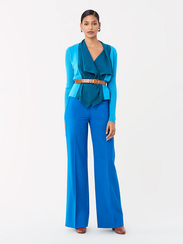 Georgina Stretch Wool Wide-Leg Pant in New Coast