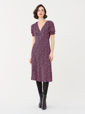 Idris Cinch-Sleeve Crepe Dress in Vines Petal