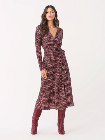 Tilly Stretch Georgette Midi Wrap Dress in Ditsy Leaves