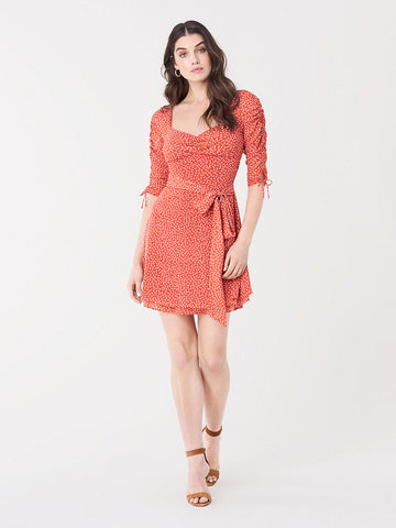 Coralie Mesh Mini Dress in Buttercup Paprika