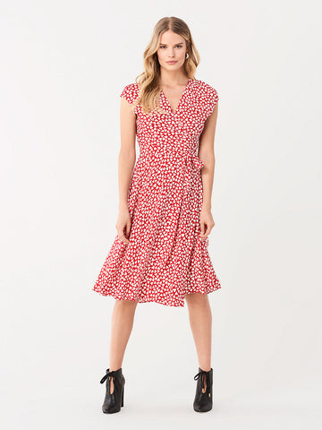 Goldie Crepe Wrap Dress in Hearts Small Poinsettia