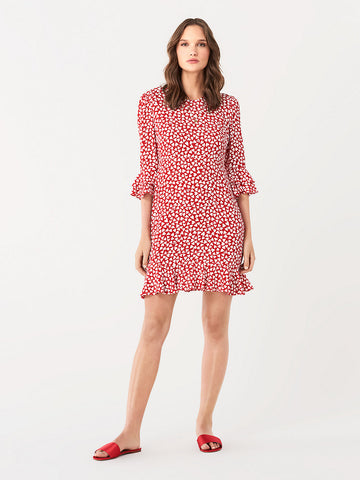 Elly Two Crepe Mini Dress in Hearts Small Poinsettia
