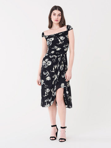Fannie Jersey Midi Dress in Prairie Black