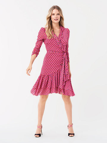 Paloma Ruffled Mesh Wrap Dress in Spot Mallow