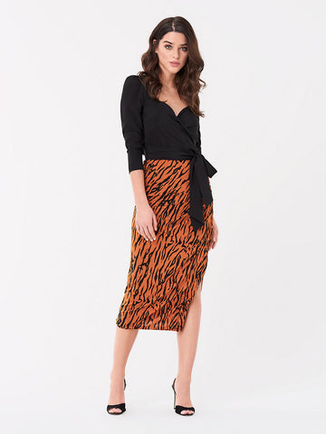 Edna Ruched Mesh Midi Skirt in Caspian Tigress