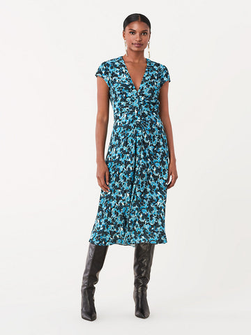 Cecil Crepe Midi Dress in Painted Garden Sm Cerulean