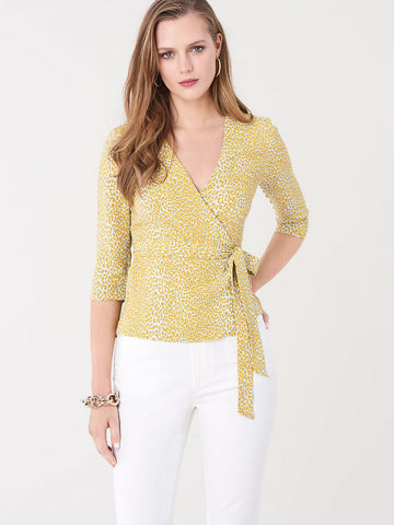 Halle Crepe Wrap Top in Serval Light Daydream