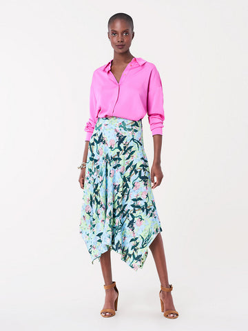 Aileen Reversible Crepe Asymmetrical Midi Skirt in Healing/Seeds