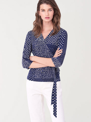 Halle Silk Crepe De Chine Wrap Top in Tapestry Navy