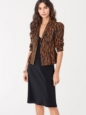 Winona Stretch Crepe Peplum Jacket in Spice/Black