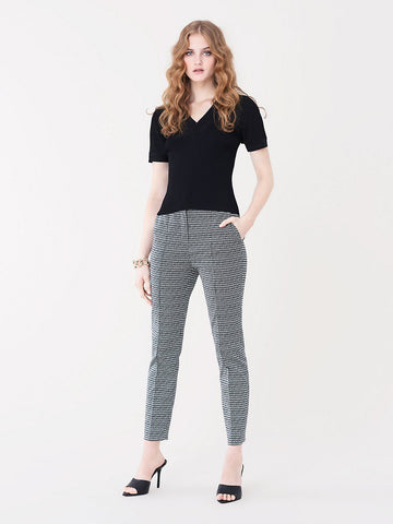 Sienna Stretch-jacquard Straight-leg Pants in Black/Ivory