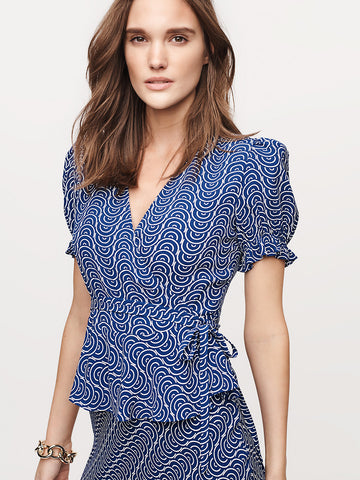 Emilia Crepe Wrap Top in Aegean Naxos