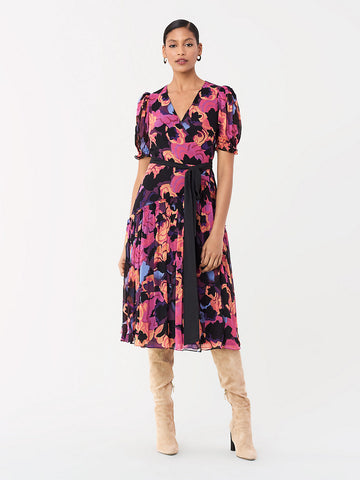 Francesca Chiffon Midi Wrap Dress in Painted Garden Magenta