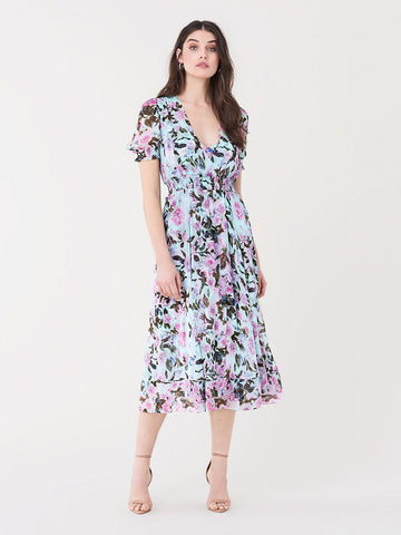 Palmer Silk-chiffon Midi Dress in Lilac Small Lagoon