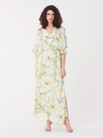 Hana Silk-chiffon Belted Kaftan Maxi Dress in Tulip Shell Lagoon