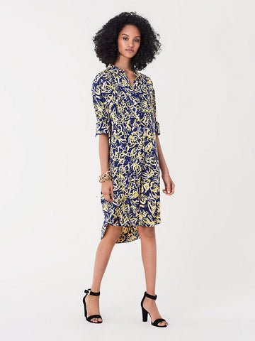 Aliana Silk Crepe De Chine Shirt Dress in Blockprint Aura
