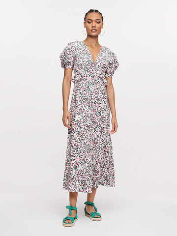 Sloane Silk Crepe De Chine Midi Dress in Seeds Small Bloom