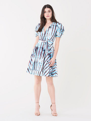 Indra Cotton Poplin Mini Wrap Dress in Tie Dye Rain