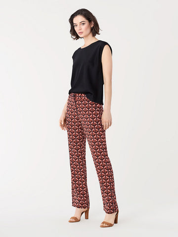 Ashley Stretch-georgette Straight Pants in Geo Tiles Large Paprika