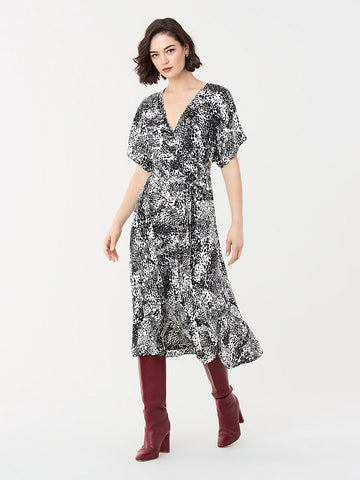 Kelsey Silk Crepe de Chine Wrap Dress in Swirling Cheetah