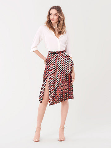 Brittany Silk Crepe De Chine Midi Skirt in Geo Tiles Lg/3D Chain Paprika