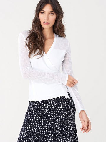 Imelda Perforated-knit Wrap Top in White