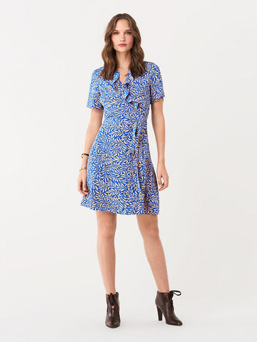 Savilla Silk Crepe De Chine Wrap Dress in Laural Bright Blue